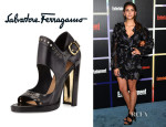 Nina Dobrev's Salvatore Ferragamo 'Narny' Leather Sandals