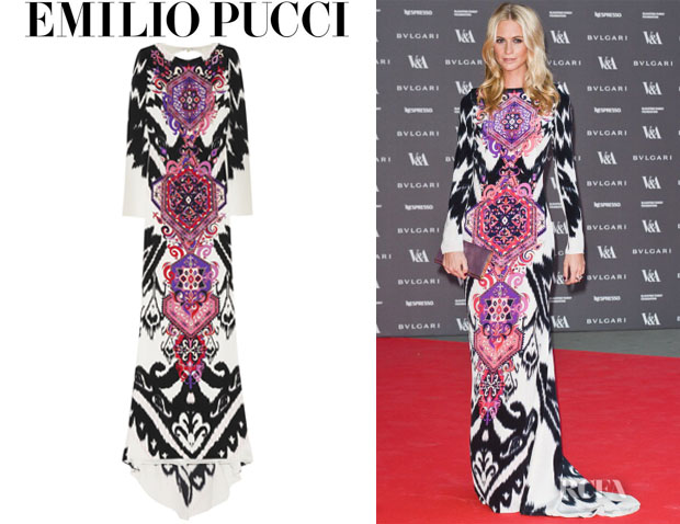 Poppy Delevingne's Emilio Pucci Printed Silk-Cady Maxi Dress