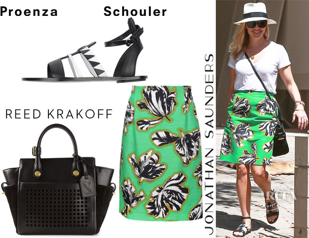 Reese Witherspoon's Jonathan Saunders Knee Length Skirt, Reed Krakoff 'Mini Atlantique' Tote And Proenza Schouler Sandals