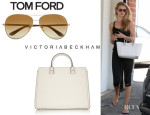 Rosie Huntington-Whiteley's Tom Ford 'Charles Aviator' Sunglasses And Victoria Beckham 'The Victoria' Tote