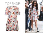 Selena Gomez' Topshop Boutique Floral Print Silk Shift Dress