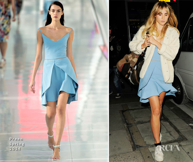 Suki Waterhouse In Preen - On The 'Adams Jones' Film Set