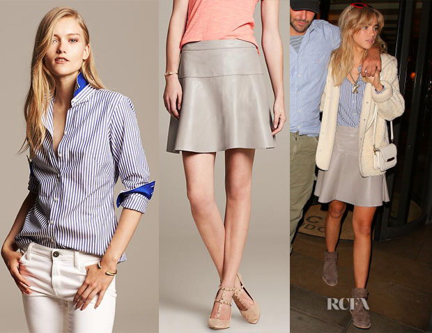 Suki Waterhouse's Banana Republic Striped Sleeveless Shirt & Gray Leather Fit-and-Flare Skirt