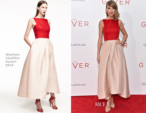 Taylor Swift In Monique Lhuillier - 'The Giver' New York Premiere