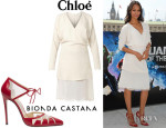 Zoe Saldana's Chloé V-Neck Silk-Skirt Crepe Dress And Bionda Castana 'Lana' Pumps