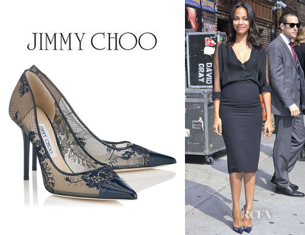 Zoe Saldana's Jimmy Choo 'Amika' Leather-Trimmed Lace Pumps