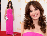 ZooeyDeschanelInOscardelaRenta2014EmmyAwards