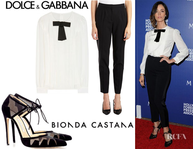 Abigail Spencer's Dolce & Gabbana Silk-Crepe Blouse, Dolce & Gabbana Tapered Pants And Bionda Castana Ankle-Tie 'Lana' Pumps