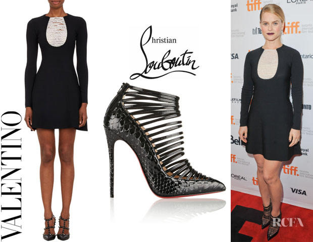Alice Eve's Valentino Lace-Bib Knit Dress And Christian Louboutin 'Gortik' Python Ankle Boots