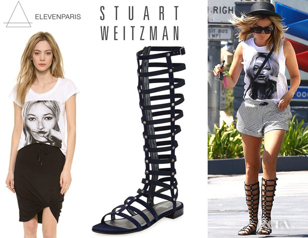 Ashley Tisdale's ElevenParis 'Kate Moss' Tee And Stuart Weitzman Gladiator Sandals