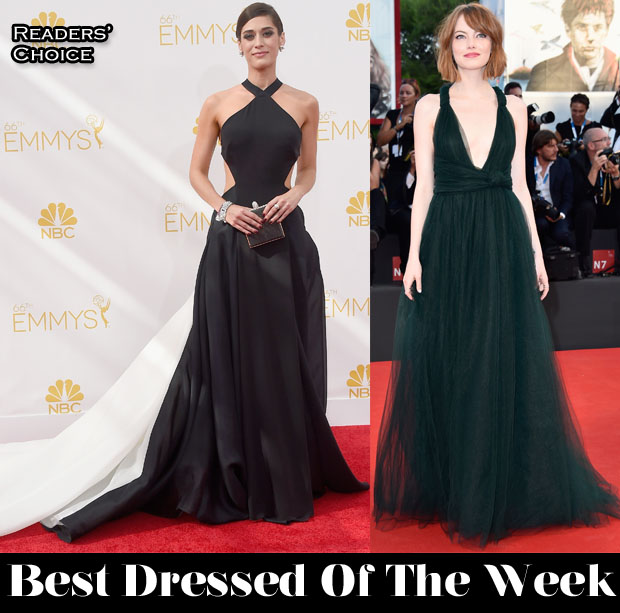 Best Dressed Of The Week - Lizzy Caplan In Donna Karan Atelier, Emma Stone In Valentino Couture, Allison Williams In Giambattista Valli Couture & Nikolaj Coster-Waldau In Salvatore Ferragamo