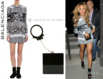 Beyonce Knowles' Balenciaga Mixed-Pattern Jacquard Knit Dress And Charlotte Olympia 'Kinky' Clutch