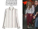 Beyonce Knowles' Maison Martin Margiela Striped Silk-Twill Shirt