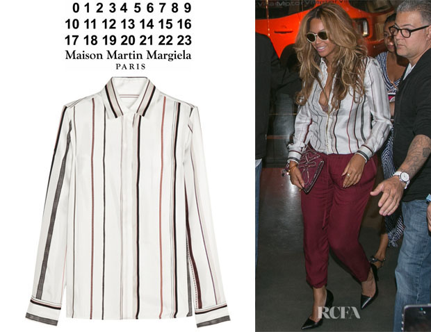 Beyonce Knowles' Maison Martin Margiela Striped Silk-Twill Shirt1