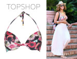 Beyonce Knowles' Topshop Floral Mix Plunge Bikni Top