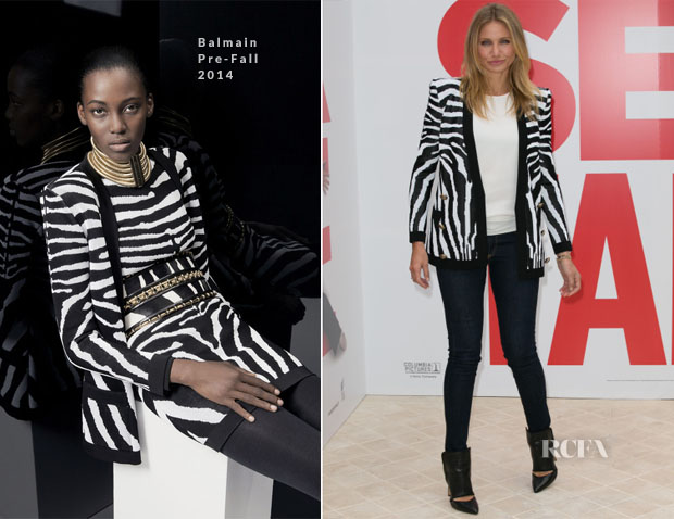 Cameron Diaz In Balmain - 'Sex Tape' Paris Photocall
