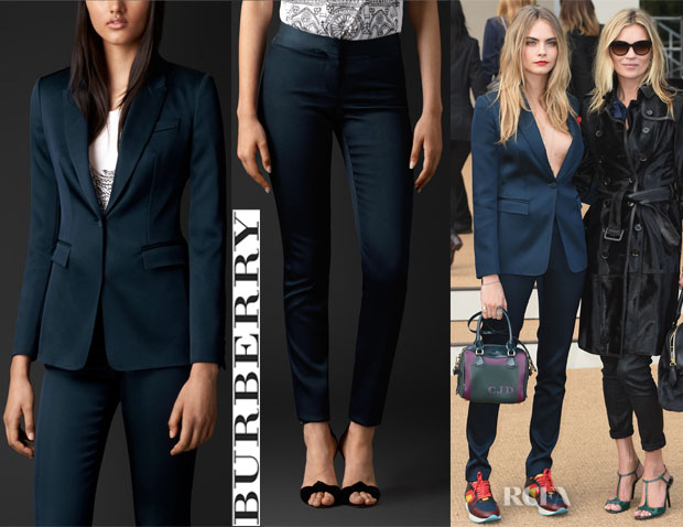 Cara Delevingne's Burberry Stretch-Silk Tailored Jacket And Burberry Stretch-Silk Tailored Trousers