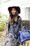 Topshop Felt Floppy Hat - Topshop US and Topshop UK,  Topshop Pussybow Maxi Dress - Topshop US and Topshop UK,  Topshop Luxe Faux Fur Boxy Gilet - Topshop US and Topshop UK and  Topshop Contrast Suede and Leather Holdall - Topshop US and Topshop UK