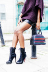 Joseph Oversized Chunky-Knit Roll-Neck Sweater, Topshop Leather Shorts, Christian Louboutin 'Panettone' Studded Tote  and Christian Louboutin Booties