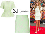 Cheryl Cole's 3.1 Phillip Lim Floating Peplum Top And 3.1 Phillip Lim Abstract Jacquard Mini-Skirt