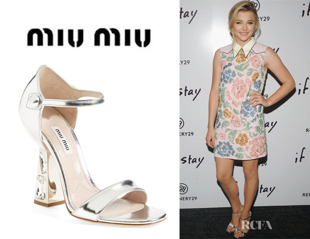 Chloe Grace Moretz' Miu Miu Jeweled Heel 'Mary Jane' Sandals