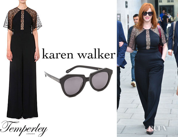 Christina Hendricks' Temperley London Lace-Insert Jumpsuit And Karen Walker 'Number One' Sunglasses