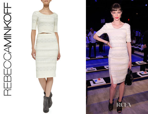 Coco Rocha's Rebecca Minkoff 'James' Crop Top And Rebecca Minkoff 'James' Skirt