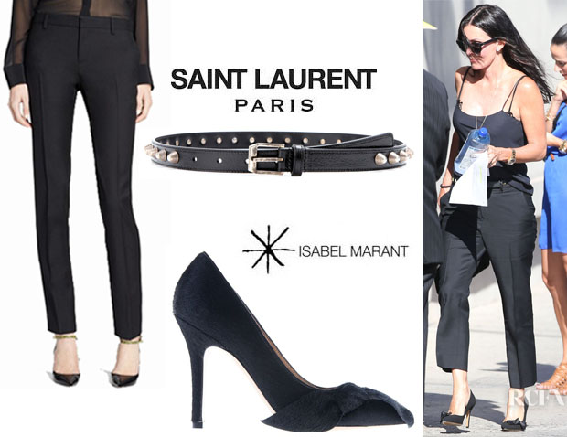 Courteney Cox's Saint Laurent Skinny Pants, Saint Laurent Studded Leather Belt And Isabel Marant Bow Detail Pumps
