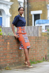 Topshop Top, Stella Jean Colomba Tribal-Print Pencil Skirt, Jil Sander Calf-Hair Clutch, Kurt Geiger Shoes, Topshop Earrings and Vintage Necklace