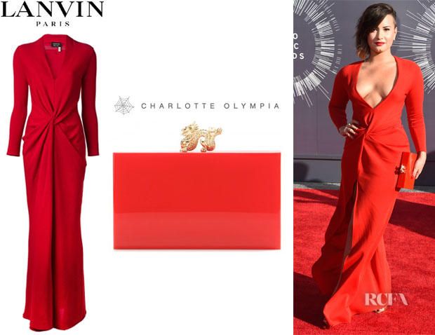 Demi Lovato's Lanvin Long Gown And Charlotte Olympia 'Dragon Pandora' Box Clutch