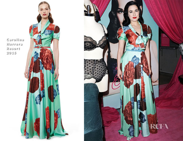 Dita von Teese In Carolina Herrera - Von Follies Collection For Destination Maternity Launch Event