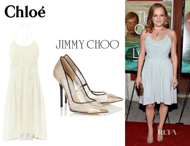 Elisabeth Moss' Chloé Gathered-Panel Silk Dress And Jimmy Choo 'Toga' Lace Pumps