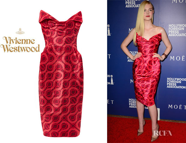 Elle Fanning's Vivienne Westwood Gold Label 'Lilly' Double Squiggle-Print Dress