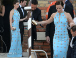 Emily Blunt In Emilio Pucci - George Clooney And Amal Alamuddin Wedding