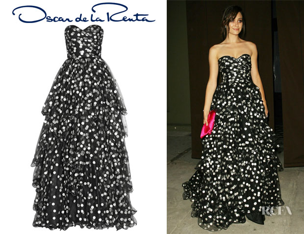Emmy Rossum's Oscar de le Renta Polka-Dot Tiered Tulle Gown