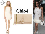 Eva Longoria's Lovers + Friends 'Monica Rose Veria' Dress And Chloé 'Aurore' Wallet On A Chain