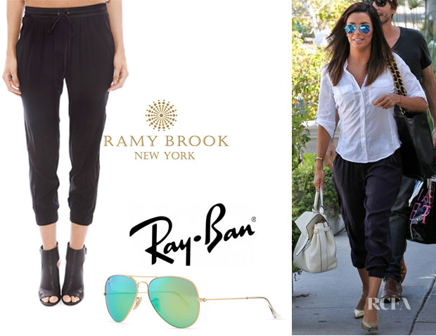 Eva Longoria's Ramy Brook Crop Pants And Ray-Ban 'Aviator' Sunglasses with Flash Lenses