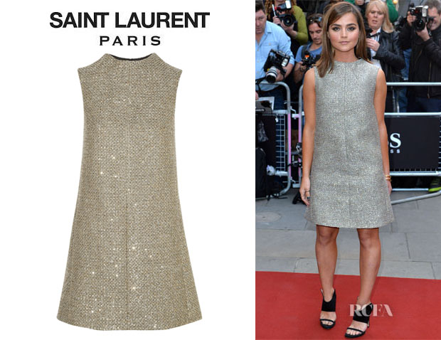 Jenna Coleman's Saint Laurent Sequined Tweed Mini Dress