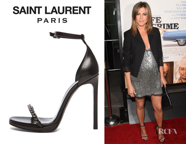 Jennifer Aniston's Saint Laurent 'Chain Jane' Platform Leather Heels
