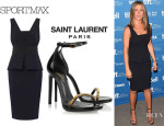 Jennifer Aniston's Sportmax 'Fibra' Dress And Saint Laurent 'Jane' Chain-Embellished Sandals