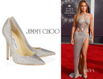 Jennifer Lopez' Jimmy Choo 'Tartini' Crystal Pointy Toe Pumps