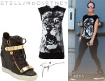Jennifer Lopez' Stella McCartney Lion Print T-Shirt And Giuseppe Zanotti Wedge Sneakers