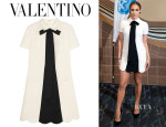 Jennifer Lopez' Valentino Bow-Embellished Wool-Blend Crepe Mini Dress