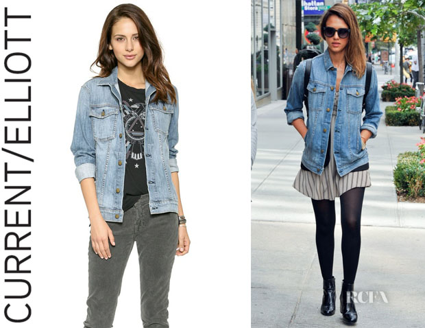 Jessica Alba's Current/Elliott Oversized Trucker Jacket