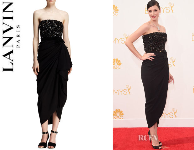 Jessica Pare's Lanvin Strapless Beaded-Bodice Drape Dress