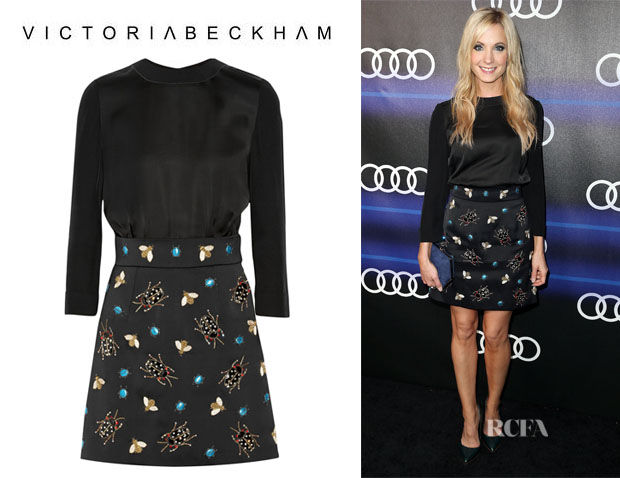 Joanne Froggatt's Victoria, Victoria Beckham Embellished Satin Mini Dress
