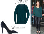 Katie Holmes' J Crew Cashmere V-Neck Sweater And Isabel Marant Bow Detail Pumps