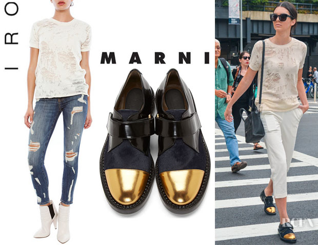 Kendall Jenner's IRO 'Nasta' Short Sleeve Sweatshirt And Marni Gold Toecap Shoes
