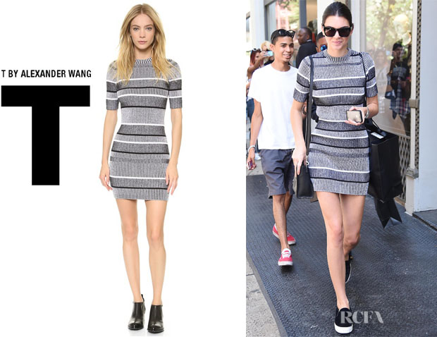 Kendall Jenner S T By Alexander Rib Knit Short Sleeve Dress