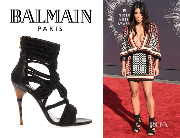 Kim Kardashian's Balmain Braided-Cotton And Leather Sandals